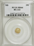 California Fractional Gold: , Undated 25C Liberty Round 25 Cents, BG-222, R.2, MS64 PCGS. PCGSPopulation (102/16). NGC Census: (12/9). (#10407)...