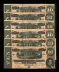 Confederate Notes:1864 Issues, T68 $10 1864 Six Consecutive Examples.. ... (Total: 6 notes)