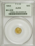 California Fractional Gold: , 1853 50C Liberty Round 50 Cents, BG-428, R.3, AU55 PCGS. PCGSPopulation (26/209). NGC Census: (0/32). (#10464)...