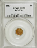 California Fractional Gold: , 1853 $1 Liberty Octagonal 1 Dollar, BG-530, R.2, AU58 PCGS. PCGSPopulation (105/88). NGC Census: (14/34). (#10507)...