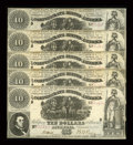 Confederate Notes:1861 Issues, T30 $10 1861 Five Consecutive Examples.. ... (Total: 5 notes)