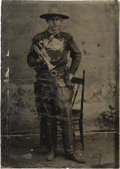Photography:Tintypes, Sixth Plate Tintype of a Cowboy (Dodge City Band?) Trumpet Player.....