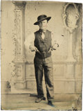 Photography:Tintypes, Sixth Plate Tintype of Man With Two Revolvers in His Belt....