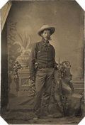 Photography:Tintypes, Sixth Plate Tintype of Armed Cowboy With Muttonchops....
