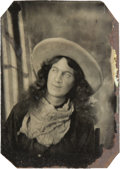 Photography:Tintypes, Sixth Plate Tintype of Raw-Boned Cowgirl....