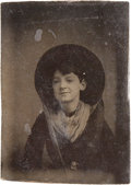Photography:Tintypes, Ninth Plate Tintype of Cowgirl....