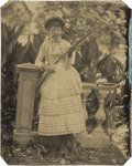 Photography:Tintypes, Sixth Plate Tintype of Armed Woman Purported to be Sharpshooter Lillian Smith....