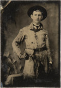 Photography:Tintypes, Sixth Plate Tintype of Fringed Buckskin-Clad, Armed Youth....