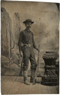 Photography:Tintypes, Sixth Plate Tintype of a Well-Armed Cowboy....