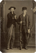 Photography:Tintypes, Sixth Plate Tintype of Two Armed Boys....