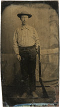 Photography:Tintypes, Sixth Plate Tintype of Man Armed With Lever-Action Rifle....
