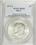 Eisenhower Dollars: , 1971-S $1 Silver MS66 PCGS. PCGS Population (1839/316). NGC Census: (622/69). Mintage: 2,600,000. Numismedia Wsl. Price for...