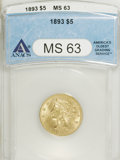 1893 $5 MS63 ANACS. NGC Census: (1357/475). PCGS Population (613/185). Mintage: 1,528,197. Numismedia Wsl. Price for NGC...