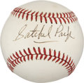 Autographs:Baseballs, 1970's Satchel Paige Single Signed Baseball, PSA NM-MT 8....