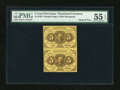 Fractional Currency:First Issue, Fr. 1230 5c First Issue Vertical Pair PMG About Uncirculated 55 EPQ....