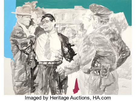 ED BLACKBURN (American, b. 1940)Movie SketchMixed media on paper30 x 40 inches (76.2 x 101.6 cm)Signed lower rig...