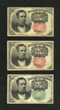 Fractional Currency:Fifth Issue, Trio of Meredith Friedberg Numbers 10c Fifth Issue Very Fine orbetter.... (Total: 3 notes)