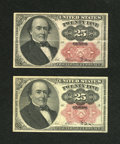 Fractional Currency:Fifth Issue, Pair of Walker Keys 25c Fifth Issue Very Fine-Extremely Fine orbetter.... (Total: 2 notes)