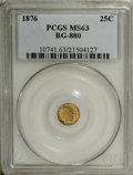 California Fractional Gold: , 1876 25C Indian Round 25 Cents, BG-880, Low R.6, MS63 PCGS. Thevibrant yellow-gold surfaces display light greenish accents...