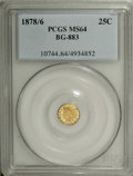 California Fractional Gold: , 1878/6 25C Indian Round 25 Cents, BG-883, High R.4, MS64 PCGS. Thestrongly mirrored straw-gold fields are well preserved. ...