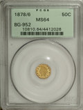 California Fractional Gold: , 1878/6 50C Indian Octagonal 50 Cents, BG-952, High R.5, MS64 PCGS.From the same dies as BG-950, but the maker has reworked...