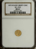California Fractional Gold: , 1870 50C Liberty Round 50 Cents, BG-1022, High R.6, MS61 NGC.Primarily yellow-gold with occasional aqua freckles and a blu...