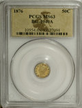 California Fractional Gold: , 1876 50C Liberty Round 50 Cents, High R.6, BG-1039A, MS63 PCGS. DieState II. Jay Roe published this variety in 1987, and p...