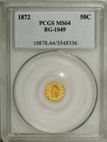 California Fractional Gold: , 1872 50C Indian Round 50 Cents, BG-1049, R4, MS64 PCGS. Vibrant andnoticeably prooflike. A couple of thin marks on the rev...