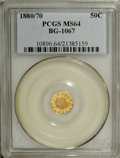 California Fractional Gold: , 1880/70 50C Indian Round 50 Cents, BG-1067, Low R.4, MS64 PCGS. Avisually impressive, prooflike example with planchet flak...