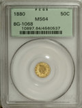 California Fractional Gold: , 1880 50C Indian Round 50 Cents, BG-1068, High R.5, MS64 PCGS. Thedesign features a medium Indian head with triangular head...