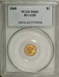 California Fractional Gold: , 1868 $1 Liberty Octagonal 1 Dollar, BG-1105, High R.4, MS62 PCGS.Light orange toning aside from a blush of plum-red on the...