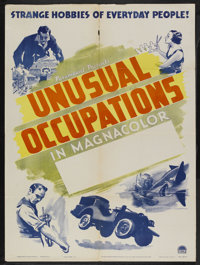 "Unusual Occupations Stock Poster (Paramount, 1941). One Sheet (27"" X 41""). Short Subject. Narrated by Ken Carp..."