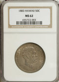 Coins of Hawaii: , 1883 50C Hawaii Half Dollar MS62 NGC. Rich dove-gray andgunmetal-blue toning embraces this boldly struck and generallysat...