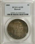 Coins of Hawaii: , 1883 $1 Hawaii Dollar AU55 PCGS. The dollar is the largest,scarcest, and most popular among ...