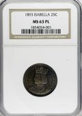 1893 25C Isabella Quarter MS63 Prooflike NGC. This piece is fully struck with reflective surfaces visible through deep o...
