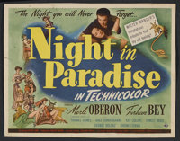 "A Night in Paradise (Universal, 1946). Title Lobby Card (11"" X 14""). Comedy. Starring Merle Oberon, Turhan Bey..."