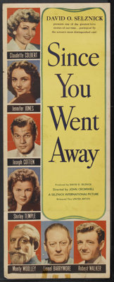 "Since You Went Away (United Artists, 1944). Insert (14"" X 36""). Drama. Starring Claudette Colbert, Jennifer Jo..."
