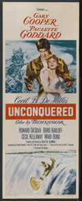 "Movie Posters:Adventure, Unconquered (Paramount, R-1955). Insert (14"" X 36""). Adventure.Starring Gary Cooper, Paulette Goddard, Boris Karloff, Howar..."