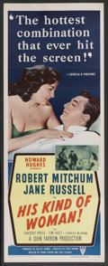 """Movie Posters:Crime, His Kind of Woman (RKO, 1951). Insert (14"""" X 36""""). Crime. StarringRobert Mitchum, Jane Russell, Vincent Price, Tim Holt, Ch..."""