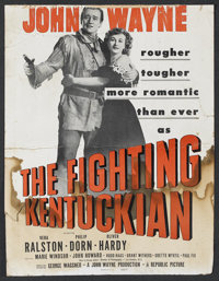 "The Fighting Kentuckian (Republic, 1949). Window Card (14"" X 18""). Western. Starring John Wayne, Vera Ralston..."