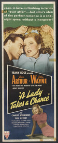 """Movie Posters:Comedy, A Lady Takes A Chance (RKO, 1943). Insert (14"""" X 36""""). Comedy. Starring John Wayne, Jean Arthur, Charles Winninger, Phil Sil..."""