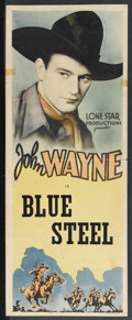 "Movie Posters:Western, Blue Steel (Monogram, 1934). Stock Insert (14"" X 36""). Western.Starring John Wayne, Eleanor Hunt, George 'Gabby' Hayes, Edw..."