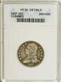 Bust Quarters: , 1837 25C --Cleaned--ANACS. VF20 Details. NGC Census: (13/183). PCGS Population (1/158). Mintage: 252,400. Numismedia Wsl. P...