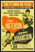 "Movie Posters:Sports, Patterson vs. Johansson (United Artists, 1961). One Sheet (27"" X 41""). Sports. For the theatrical showing of the boxing matc..."