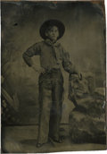 Photography:Tintypes, Sixth Plate Tintype of a Kid in Cowboy Clothing....