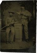 Photography:Tintypes, Sixth Plate Tintype of Two Armed Scouts in Buckskin....