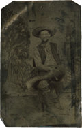 Photography:Tintypes, Sixth Plate Tintype of Seated Cowboy....