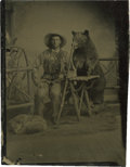 Photography:Tintypes, Great Sixth Plate Tintype of Mountain Man and Hunting Dog, circa1860....