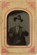 Photography:Tintypes, Sixth Plate Tintype of Cowboy Pointing Pistol at the Camera....