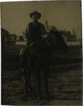 Photography:Tintypes, Sixth Plate Tintype of a Cowboy on Horseback....